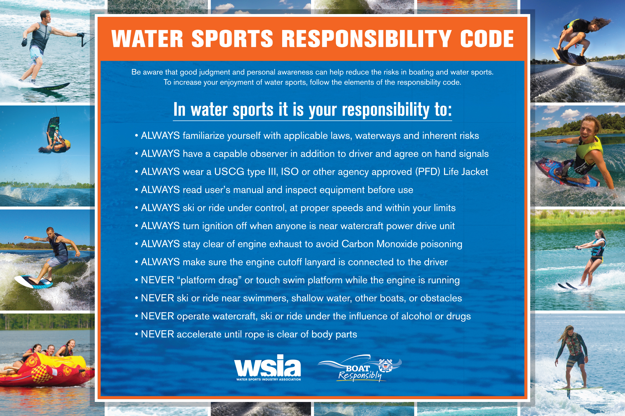 Watersports Responsibility Code Poster